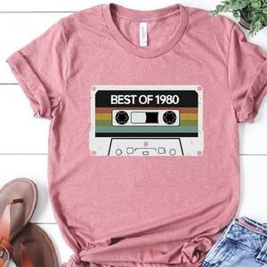 Tops - Best of 1980 graphic T-shirt pink